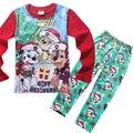 Одежда набор для девочки мальчики осень зима для детей одежда костюм Рождественские мультфильм собаки pattern пижамы Дед Мороз дети