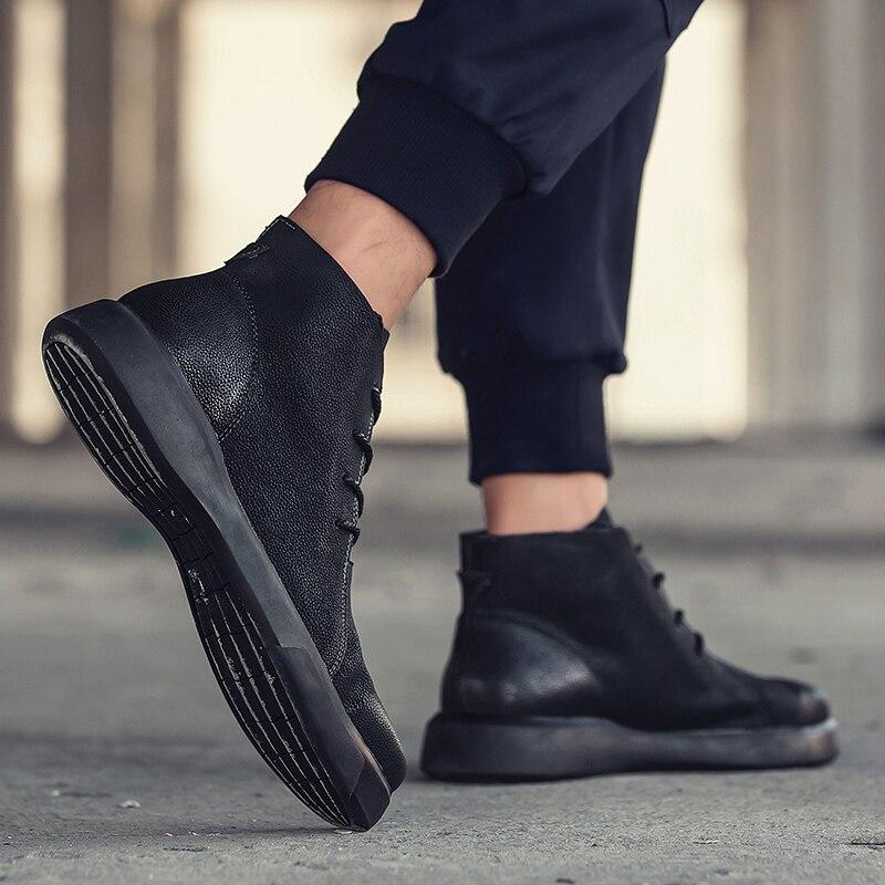 Cuir Hommes Mode Split Noir En Taille Khaki 38 De Martens Kaki Grande Printemps black Bottes Homme 47 Automne Casual Chaussures T5qZz