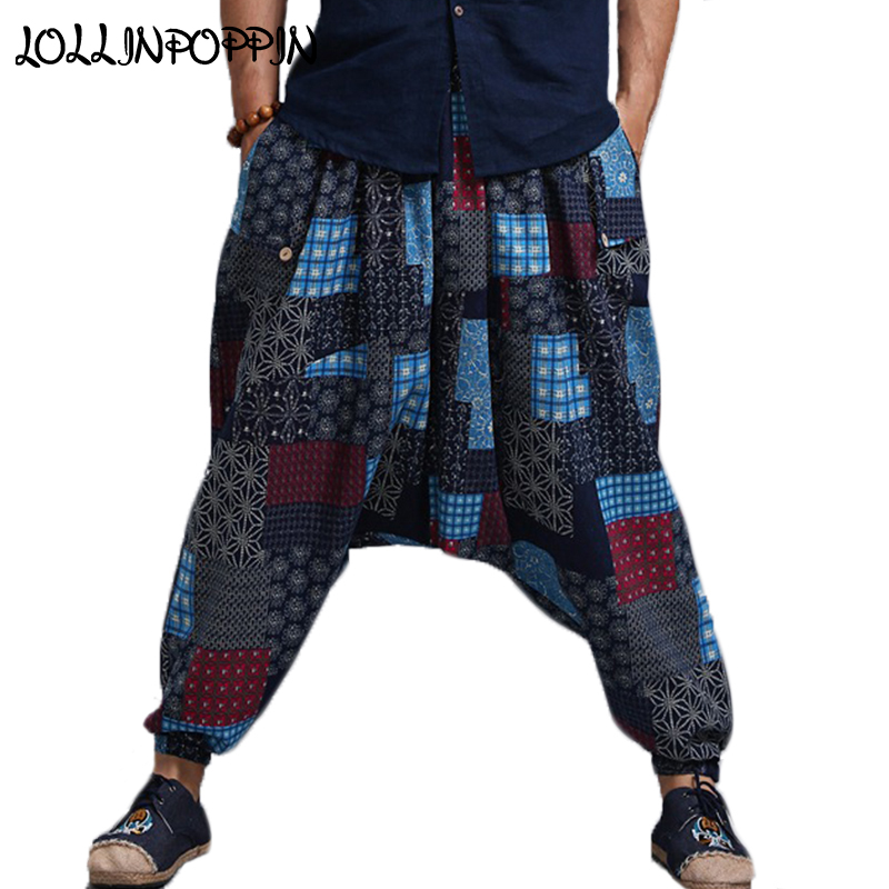 Linen Pants Joggers Harem Drop-Crotch Elastic-Waist Printed Cotton Mens