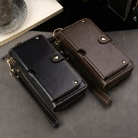Genuine Cow Leather Wallet Finger Ring Belt Strap Mobile Phone Case Pouch For Huawei P20/P20 Pro,Mate RS Porsche Design