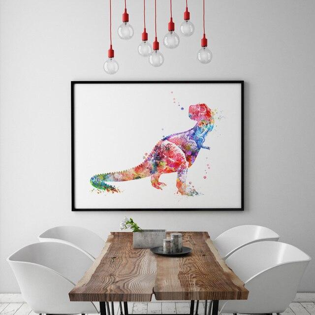 Dinosaur Art Wall Decor Painting Gift Ilrastion Raptor Watercolor Print Hanging Animal