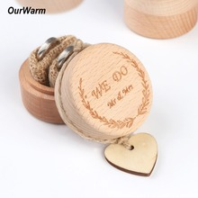 Ourwarm 5x5x4cm Wood Ring Box Wedding/Valentines Engagement Wooden Bearer Rustic Wedding Holder No Engravings