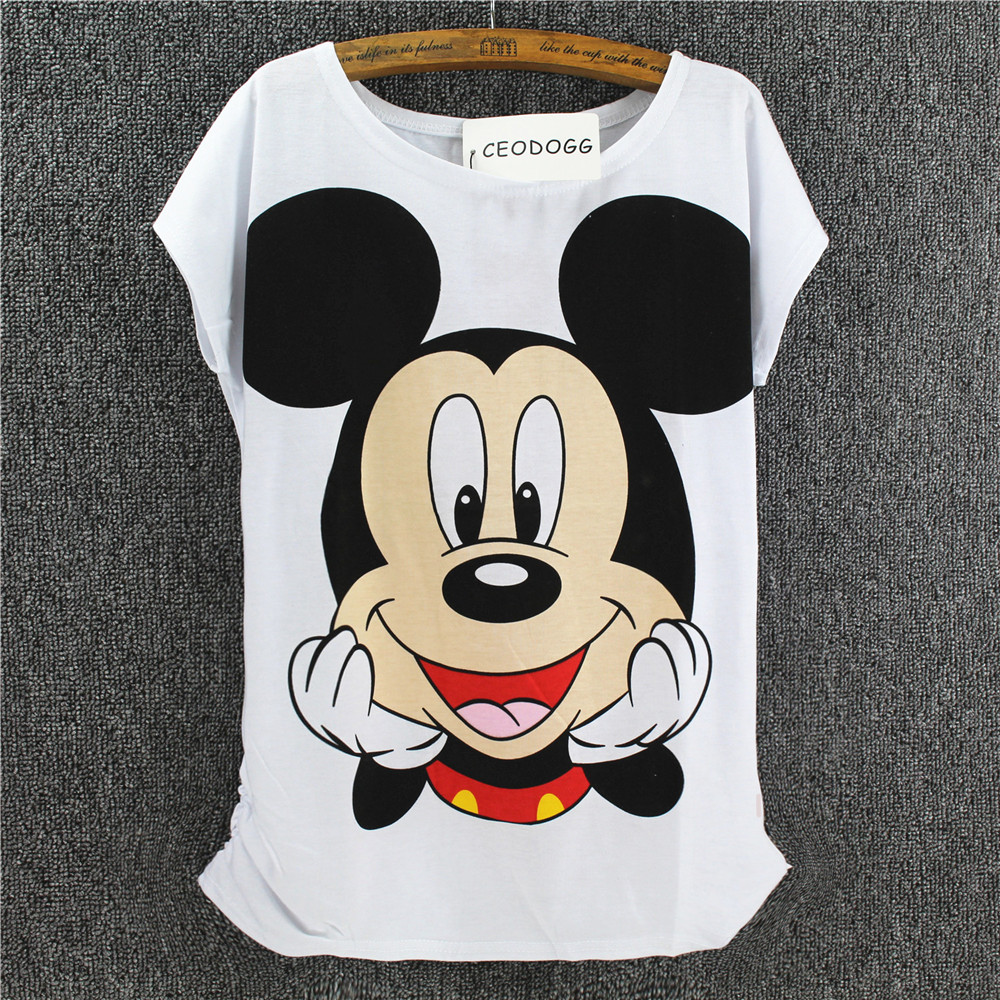 CEODOGG New Cartoon Mouse Women T Shirt Women Summer Short-sleeve Emoji Casual T Shirt Woman Clothes O Neck T-shirt Femme