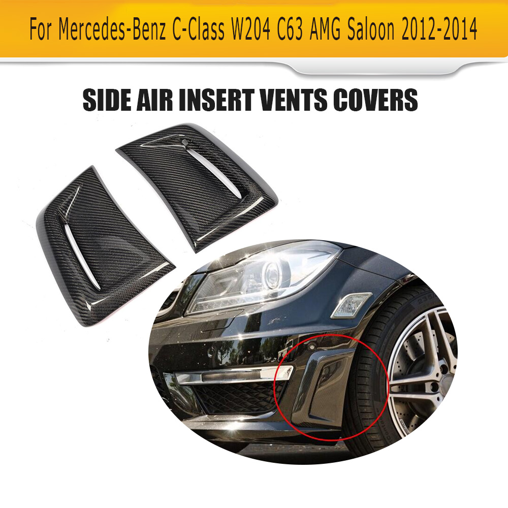 Auto Fender Decor Car Air Flow Sticker decorative Side Scoop Car Side Vent for BENZ C63 AMG Facelift 2012-2014 auto side air vent fender decoration sticker cover hole intake grille duct flow