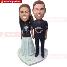 nfl Fans bobblehead design Personalized Wedding Cake Topper Custom Bobble Head Figurine Based on Customers Photos topper cake