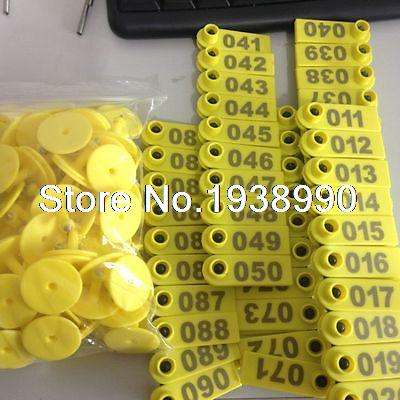 Sets Goat Sheep Livestock Use 1-100 Numbers Ear Tag Eartag Animal Tag Yellow 134 2khz rfid animal identification round pig ear tag for livestock animal tracking and indentification 500pcs lot good quality