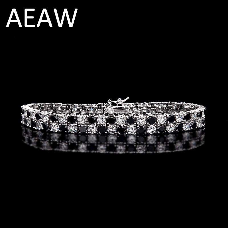 AEAW Trendy Style Platinum Plated Silver 26ctw ct 4mm Black And White Moissanite Diamond Bracelet For Women Test Positive helon solid 18k 750 rose gold 0 1ct f color lab grown moissanite diamond bracelet test positive for women trendy style jewelry