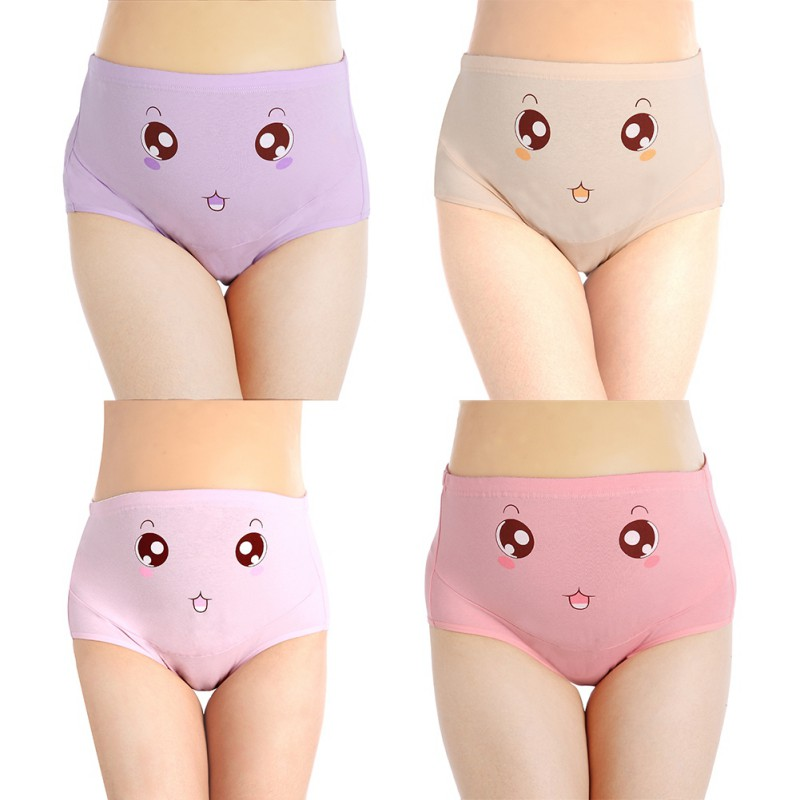 Cotton Panties High Waist Adjustable Waist Circumference Pregnant Women Stomach Lift Panties Big Eyes Light Powder