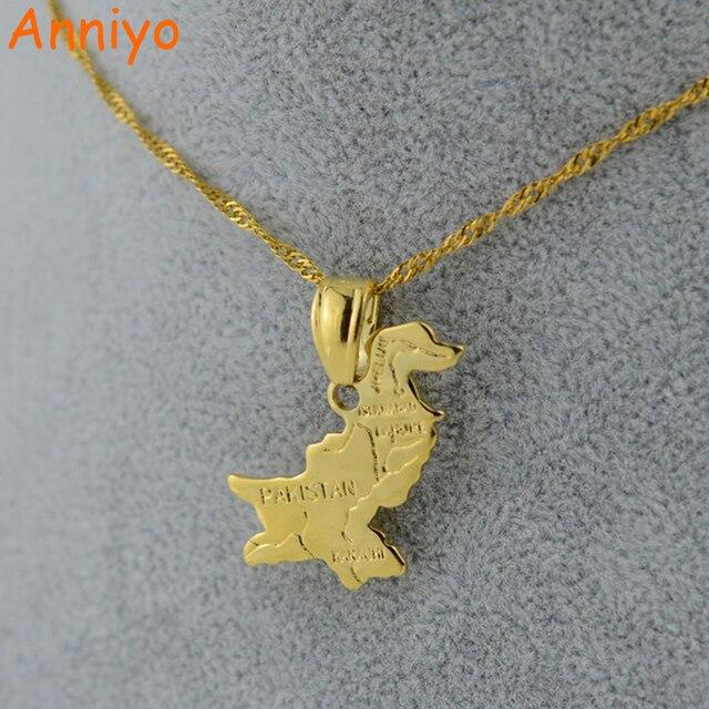 Anniyo Pakistan Map Pendants & Necklace Chain Gold Color Jewelry