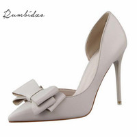 2016 New Summer Women Pumps Sweet Bowknot High Heeled Shoes Thin Pink High Heel Shoes Hollow