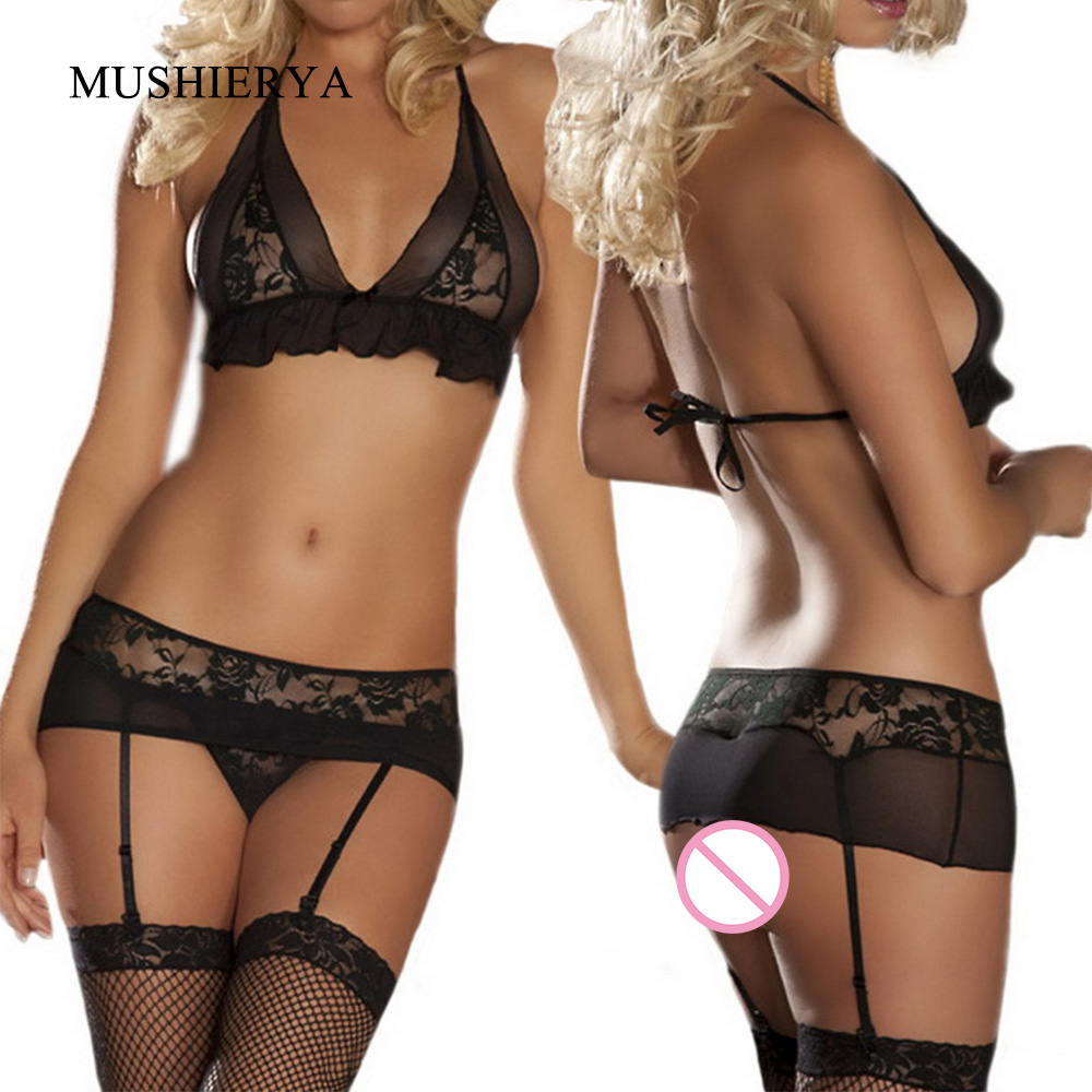 Porn Sexy Hot Erotic Lingerie Set Lace Open Sex Bra And Panty With Garters Women Underwear Sexy Sets Thin Sheer Lingerie Bra Set