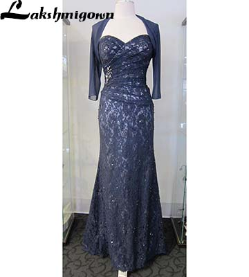 Dark Navy Mother of the Bride Dresses With Jacket  Plus Size Evening Gowns Mother of the Groom