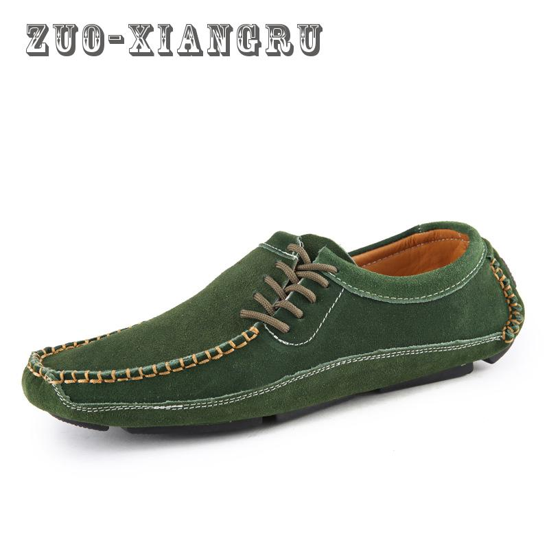 New Spring Autumn Genuine Leather Men Casual Shoes Man Flats Fashion Suede Flat Handmade Shoe Waterproof Non-slip High Quality mens casual leather shoes hot sale spring autumn men fashion slip on genuine leather shoes man low top light flats sapatos hot
