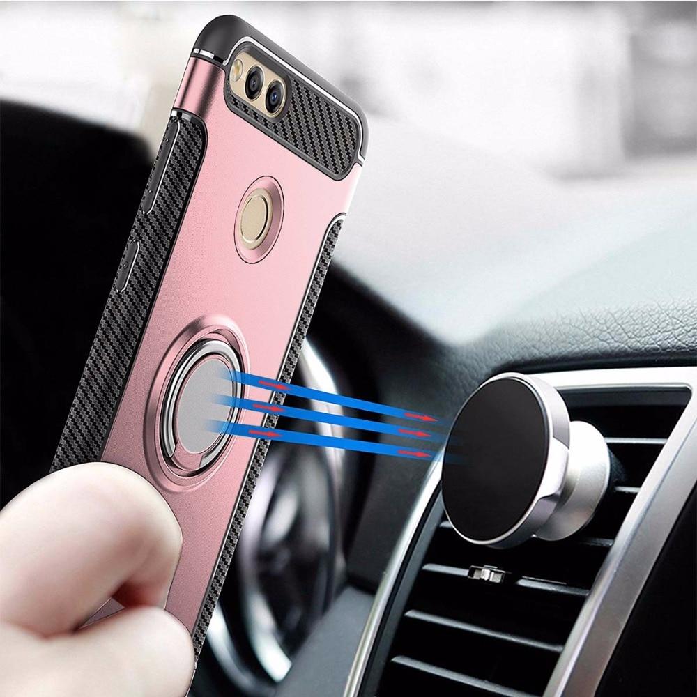 Galleria fotografica Cenlenso Case for Huawei <font><b>Honor</b></font> <font><b>7X</b></font> Car Magnetic Phone Holder Stand Shockproof Finger Ring TPU+PC Cover for Huawei <font><b>Honor</b></font> <font><b>7X</b></font> Cases