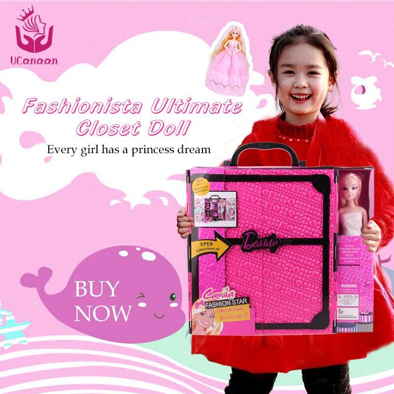Ucanaan/Fashionista Окончательный гардероб игрушки куклы принцессы Куклы Игрушечные лошадки одежда и платья шкаф куклы для Барби
