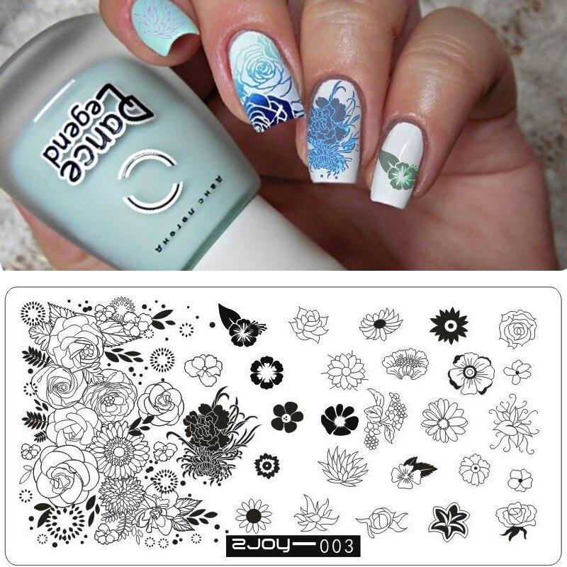 Offen Neue Schablonen Für Nägel Stempel Druck Diy Nail Art Vorlagen Blume Lot Grafiken Nagel Stanzen Platten Modischer (In) Stil;