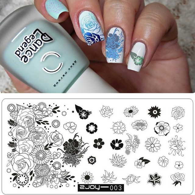 New Stencils For Nails Stamp Printing Diy Nail Art Templates Flower Lot Graphics Stamping Plates