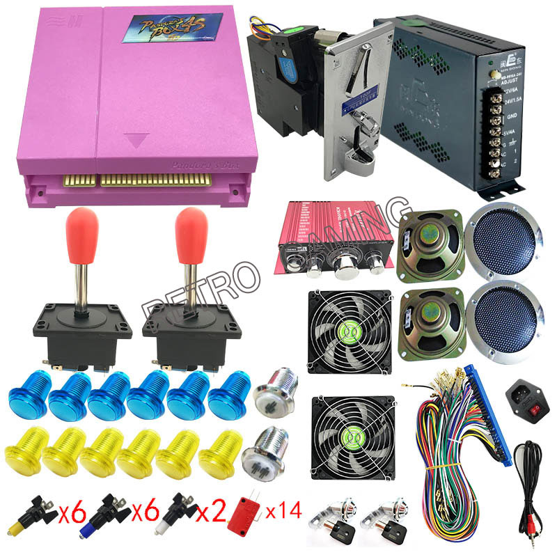 Arcade Kit Parts With Joystick Button Power Supply Coin Selector Amplifier  for DIY Pandora Box 4S Plus 815 in 1 game machine-in Coin Operated Games