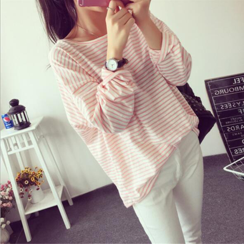 Spring Autumn New Style Women T-shirt Fashion Striped Color Long Sleeve O Neck Cotton T shirt Femme Casual Loose Women Tops casual slash neck long sleeve loose fit women s t shirt