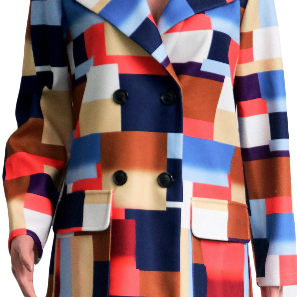 Bouton Plaid De Veste Patchwork Occasionnel Manteau Laine Outwear Manches Femmes Revers Longues robe Garde Poche PqtYg