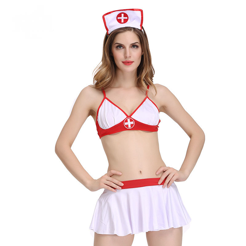 2017 Hot Fashion Women Sexy Lingerie Underwear Baby Dolls Backless Erotic Cosplay Nurses Uniform Temptation Bra+Dress+Hat