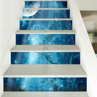 Creative Self adhesive staircase stickers DIY Moon forest stickers staircase stickers stair decoration Home ornament decoration