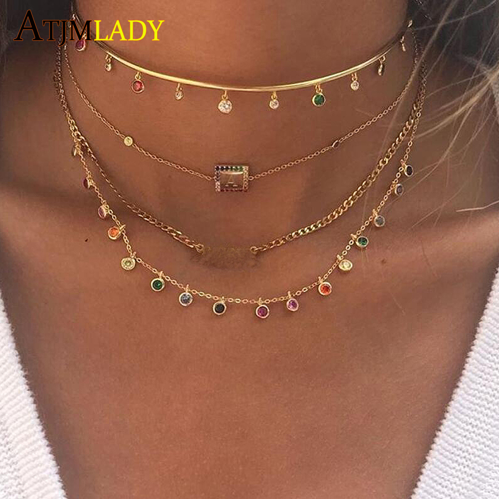 CZ Round Bezel Drip Necklace 925 Sterling Silver Dainty Chandalier Layering Necklace Gold Filled Delicate Rainbow Cz Choker