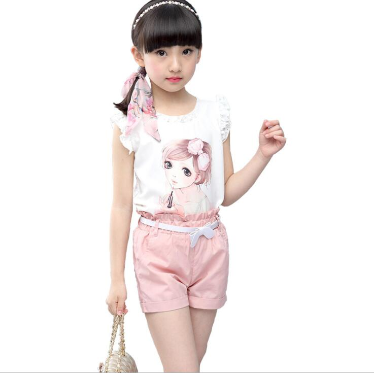 2018 New Summer Kids Clothes Set Girls Clothing Sets Children Cartoon Printing T-shirt+Shorts Suits Baby Girl Clothes fashion minnie t shirt long tutu skirt 2 pcs baby girls clothing children cartoon suits new summer clothes set free shipping
