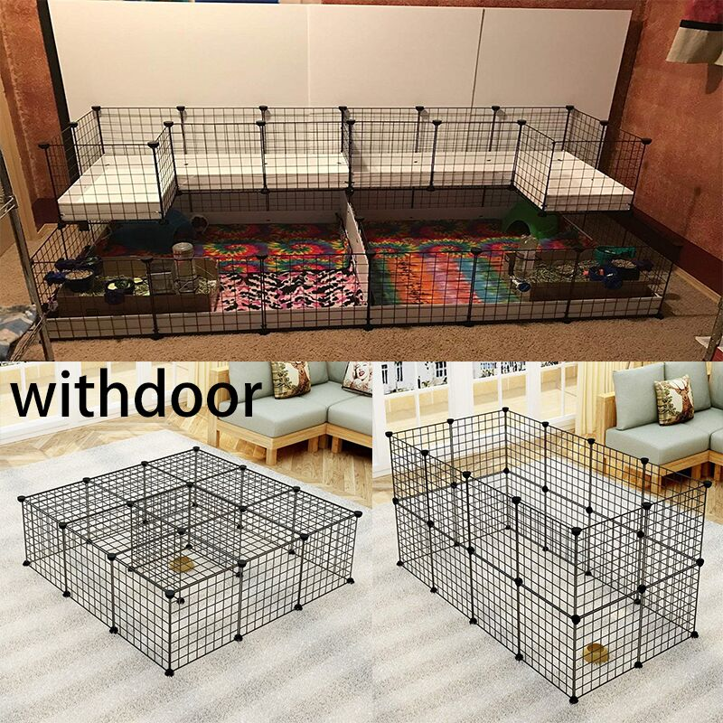 Us 3 58 22 Off Diy Pet House Foldable Pet Playpen Iron Fence Puppy Kennel Exercise Training Puppy Kitten Space Rabbits Guinea Pig Hedgehog In