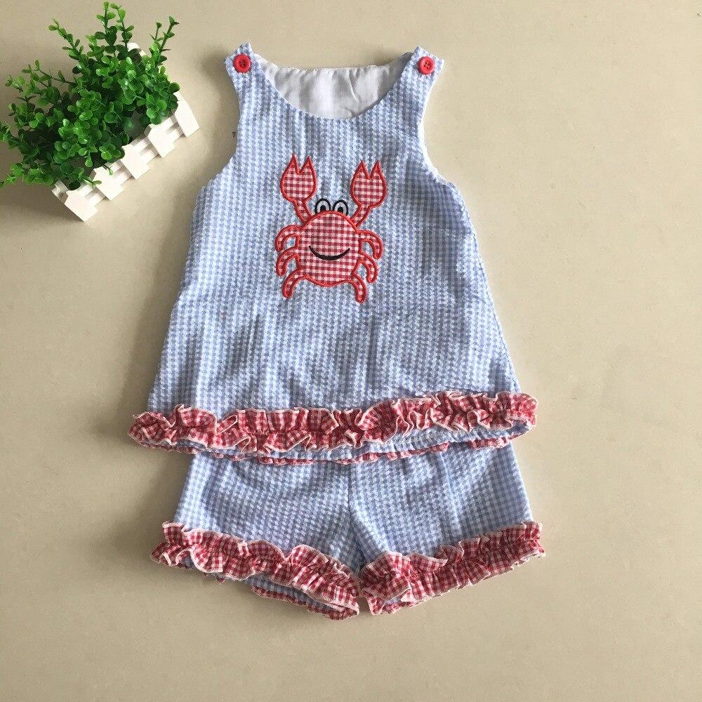 Puresun Boutique Kids Clothing Boy Fashion Crab Applique T Shirt Seersucker Shorts Toddler Summer Outfits