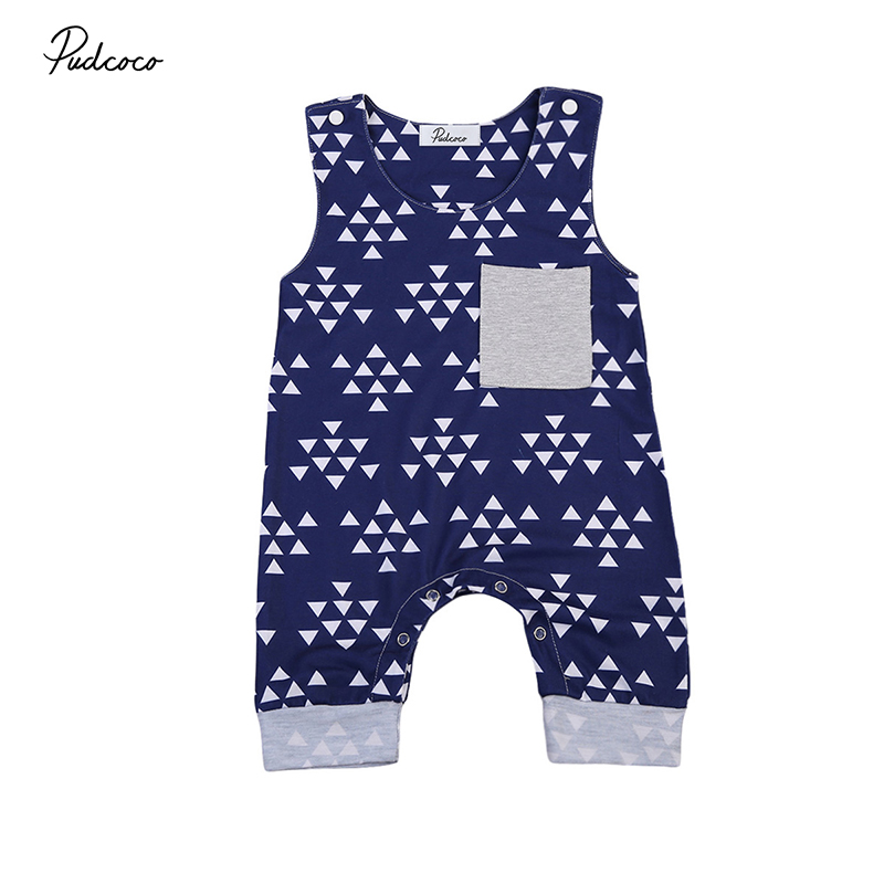 Pudcoco Newborn Baby Boy Girl Clothing Sleeveless Triangle Print Cotton Romper Jumpsuit One Pieces Children Clothes 0-18M baby clothing summer infant newborn baby romper short sleeve girl boys jumpsuit new born baby clothes