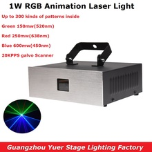 1W RGB 3IN1 Animation Laser Light DMX 512 Controller Line Scanner Stage Lighting Effect Projector DJ Bar Disco