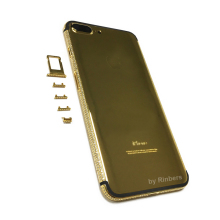For iPhone 7 24K 24KT 24CT Gold Limited Edition Diamond Crystals Metal Back Cover Housing Middle Frame Replacement +LOGO&Buttons