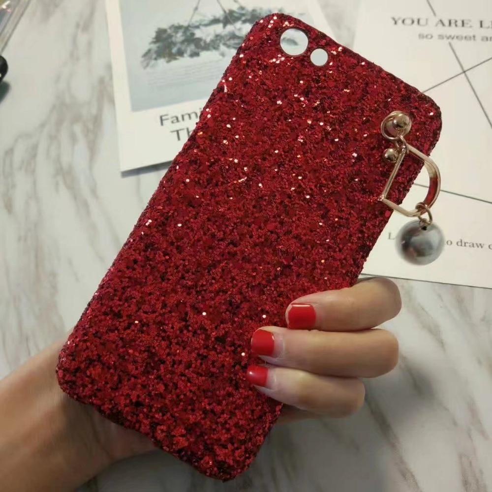 Роскошный Сияющий Порошок Красный Мягкие Силиконовые Case Для iPhone 6 7 плюс Мода Блеск Bling Ультра-тонкий Телефон Чехол Для <font><b>OPPO</b></font> R9 X9 X7