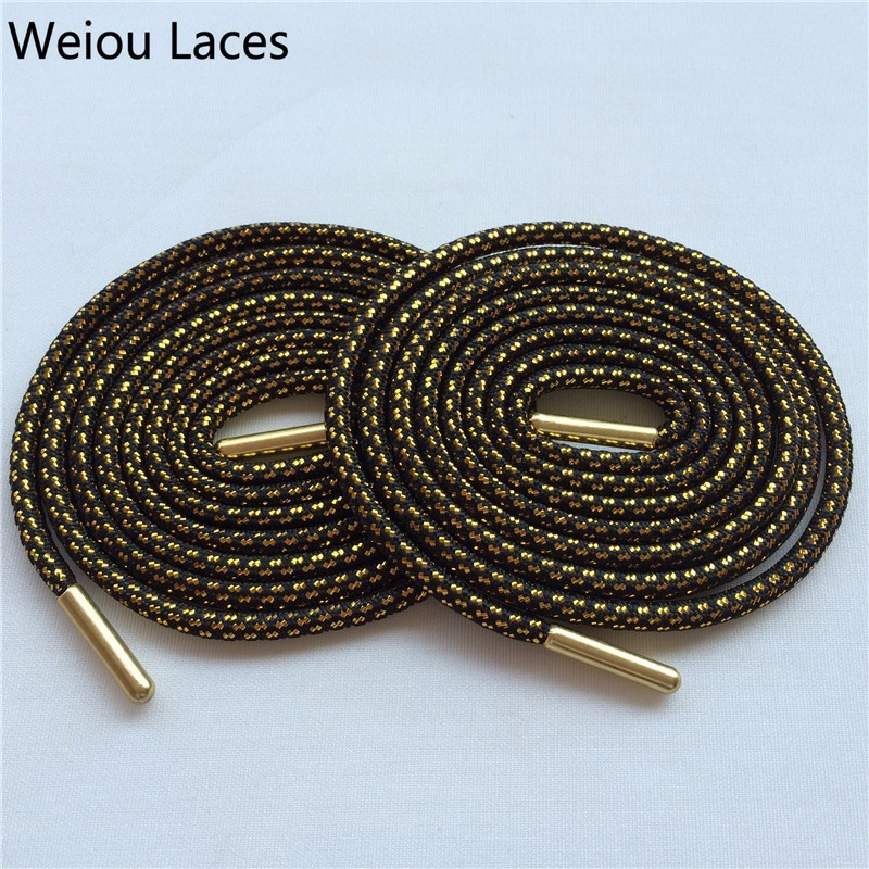 (30 Pairs/Lot) Weiou Black Gold Laces Sneaker Metal aglets Shoelaces Two Color Shoe Laces Glitter Metallic Gold For Boots Shoes