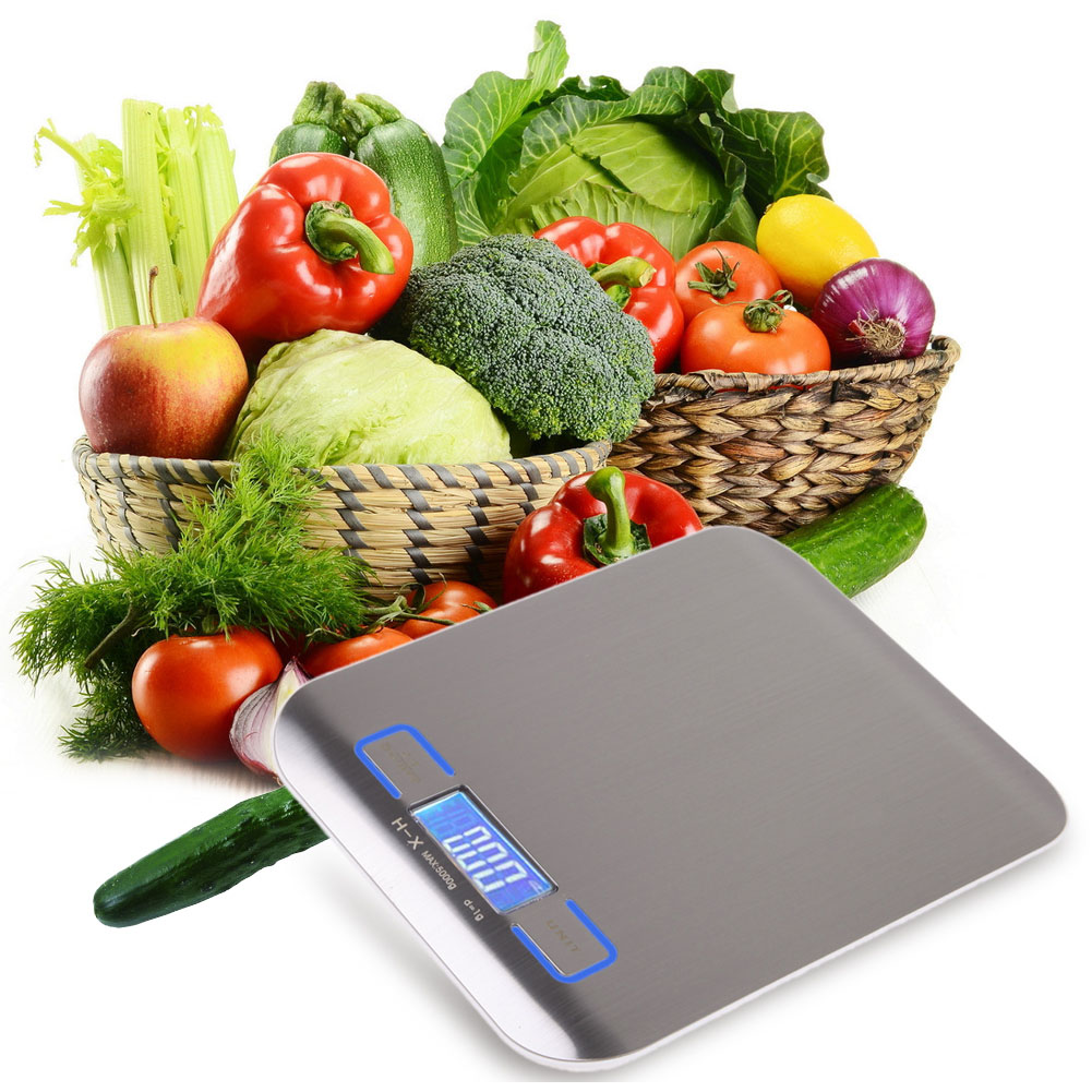 Digital Kitchen Scales Electronic Libra 5Kg/1g Cooking Weight LCD Display Blue Backlight Balance