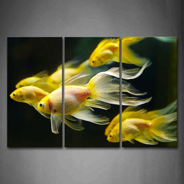 3 Piece Wall Art Painting Group Of Golden Fish In Black Background ...