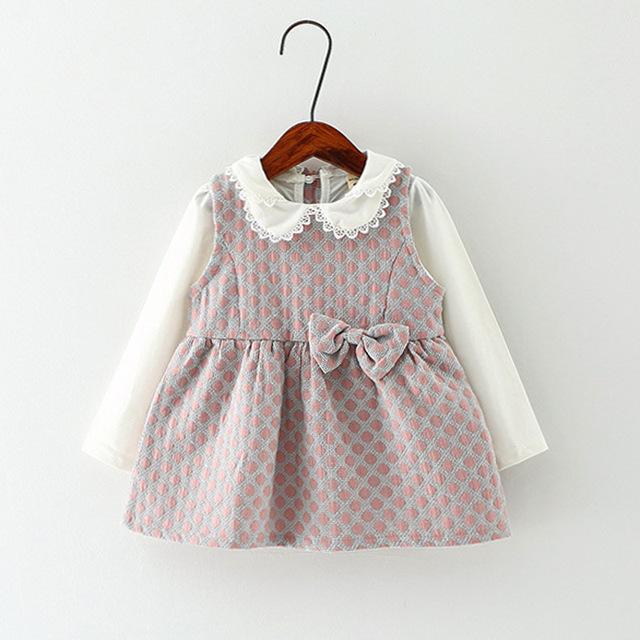 Gola boneca vestidos para as meninas do bebê roupas de menina 2017 new arrivals arco bebê girls dress partido moda venda vestido infantil