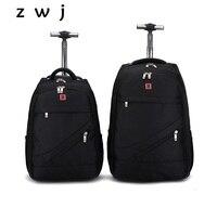 18 20 inch Black oxford trolley bag men carry on cabin hand backpack luggage bag trolley travel bag
