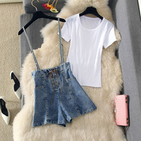 Fashion Womans Outfits Two Piece Suit Jeans Strap Pants 2019 New Summer Broad legged Denim Shorts and Short Sleeve T shirt Set