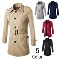 Autumn spring trench coat men single breasted waist belt trench coat men outerwear casual coat men's jackets mens trench coat