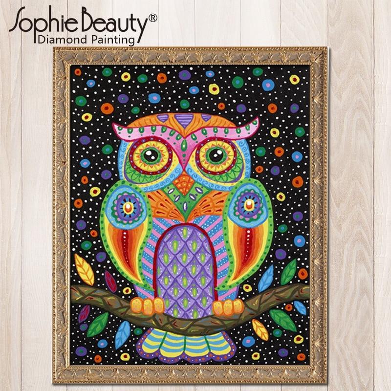 2018 Full circular Diamond 5D DIY Diamond Painting Cute owl Embroidery Cross Stitch Rhinestone Mosaic Painting Home Decor Gift