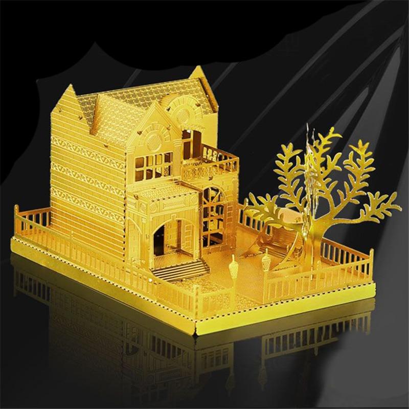 Altın Villa 3D Metal Bulmaca Çocuk DIY Montaj Modeli Binalar Için Bilmecenin Beyin Egzersiz Eğitici Çocuk Oyuncakları Için Boy