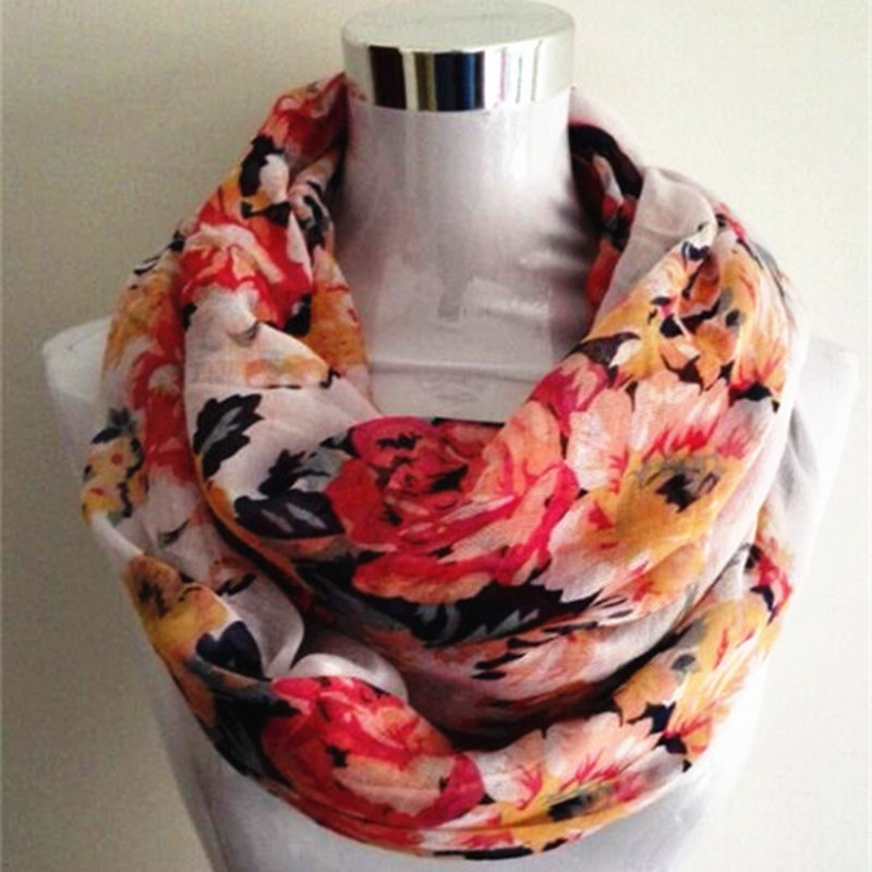 New Women Ladies Fashion Viscose Bomull Big Flowers skjerf Rose Floral Trykt Cotton Voile infinity Scarf