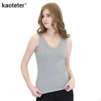 100 Pure Silk Women S Tanks Tops Women V Neck Silk Knitted Twist Weave Female Slim