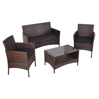 4 pcs Modern Outdoor Furniture Garden Patio Rattan Table and Chair With Shelf and Sofa Set Living Room HW54777