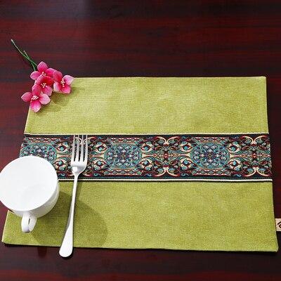Лоскутный с вышивкой кружевное китайские столовые приборы стол колодки Статуэтка винтажный Европейский стиль бархатная ткань Настольный коврик - Цвет: Светло-зеленый