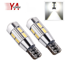2x Automotive LED T10 194 W5W Canbus 10SMD 5630 5730 LED Bulb No Error Parking Light Brake Light Reverse Light Indicator