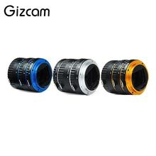 Gizcam 13/21/31mm Metal Focus AF Macro Extension Tube Ring Set Lens Adapter for Canon EOS Blue/Gold/Silver