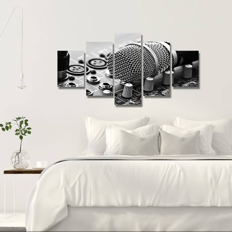 On canvas black and white unframed spray printed wall decor art oil painting microphone pintura christmas gifts in painting calligraphy from home garden
